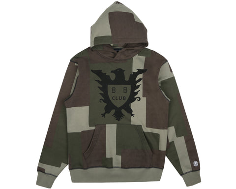 Billionaire Boys Club Spring '19 OVERDYED PATCHWORK POPOVER HOOD - OLIVE
