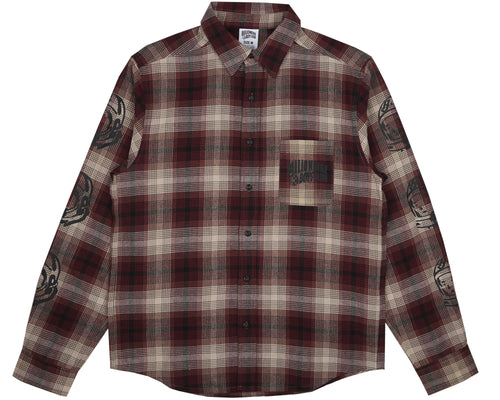 HELMET PRINT CHECK SHIRT - RED