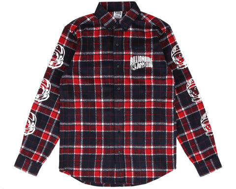 Billionaire Boys Club Pre-Spring '17 HELMET PRINT FLANNEL SHIRT - RED