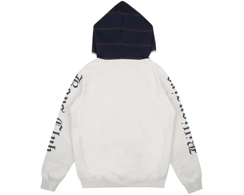 CONTRAST STRIPE ZIP THROUGH HOOD - WHITE MARL