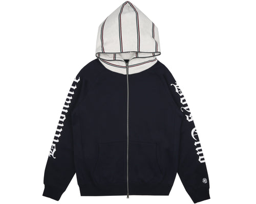 CONTRAST STRIPE ZIP THROUGH HOOD - NAVY