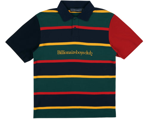 STRIPED PIQUE POLO - DARK BLUE