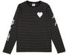 Billionaire Boys Club Spring '17 DAMAGE STRIPE L/S T-SHIRT - BLACK/CHARCOAL