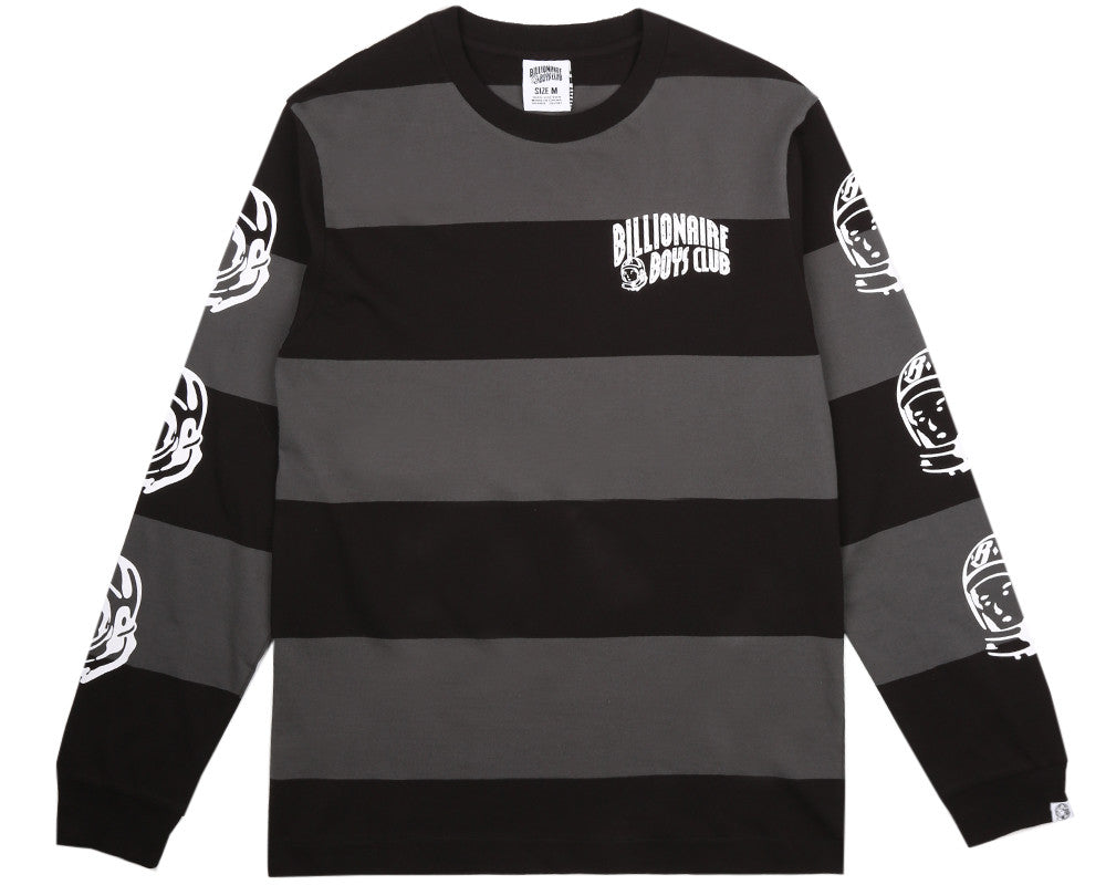 Billionaire Boys Club Pre-Spring '17 SPACE PARK LONG SLEEVED STRIPED T-SHIRT - DARK GREY/BLACK