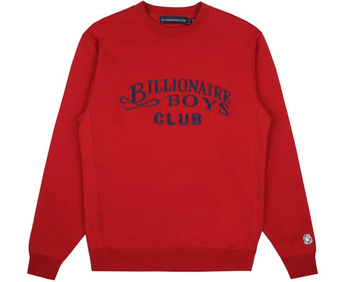 EMBROIDERED SCRIPT CREWNECK - RED