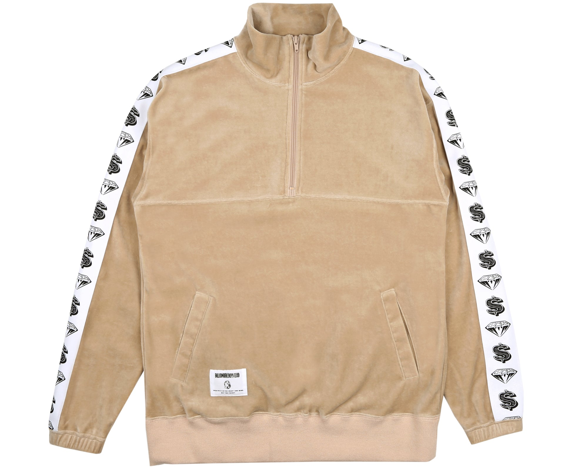 VELOUR 1/2 ZIP TRACK TOP - TAN
