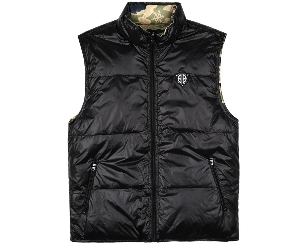 BBCICECREAM REVERSIBLE CAMO GILET - BLACK/CAMO