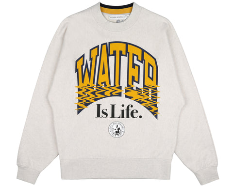Billionaire Boys Club Pre-Fall '19 WATER IS LIFE COLLEGE CREWNECK - WHITE MARL