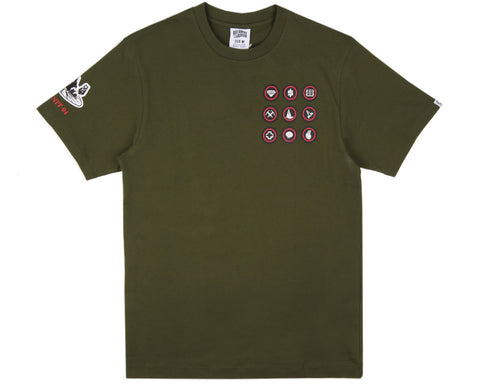 Billionaire Boys Club MERIT BADGE T-SHIRT - OLIVE