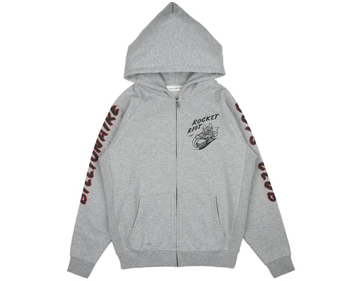 ROCKET RIOT ZIP THROUGH HOOD - HEATHER GREY