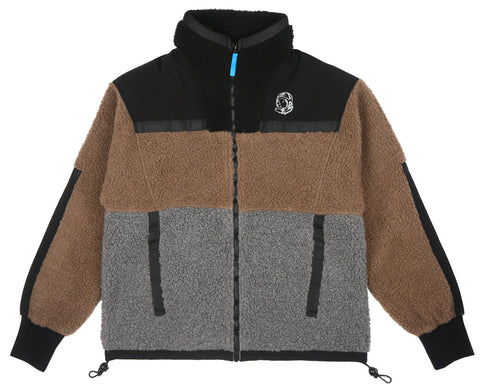 Billionaire Boys Club Fall '17 PANELLED SHERPA FLEECE ZIP-THROUGH - BROWN/GREY/BLACK