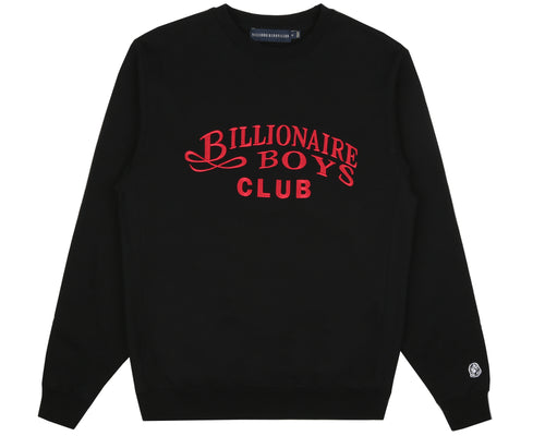 EMBROIDERED SCRIPT CREWNECK - BLACK