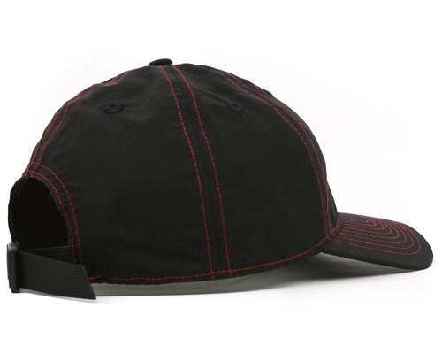 NYLON CURVED VISOR CAP - BLACK