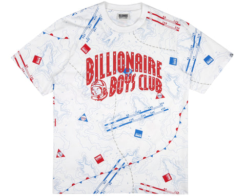 Billionaire Boys Club Pre-Fall '19 NAUTICAL PRINT A/O ARCH LOGO T-SHIRT - WHITE