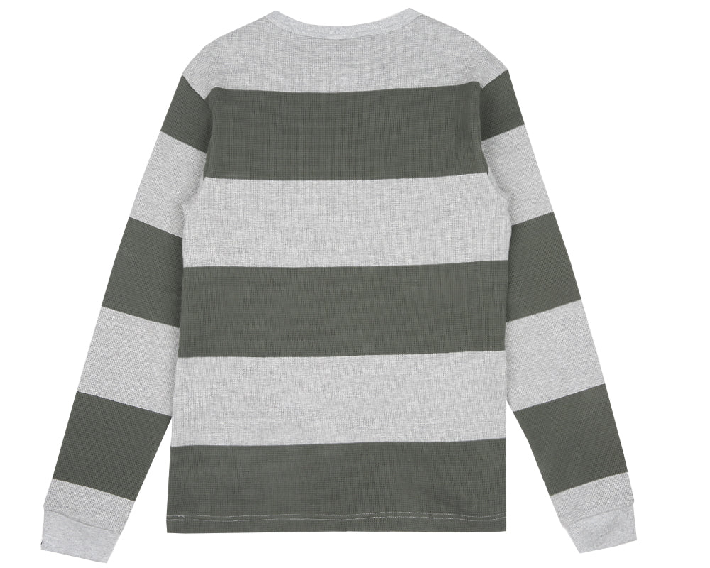 STRIPEY THERMAL L/S T-SHIRT - HEATHER GREY