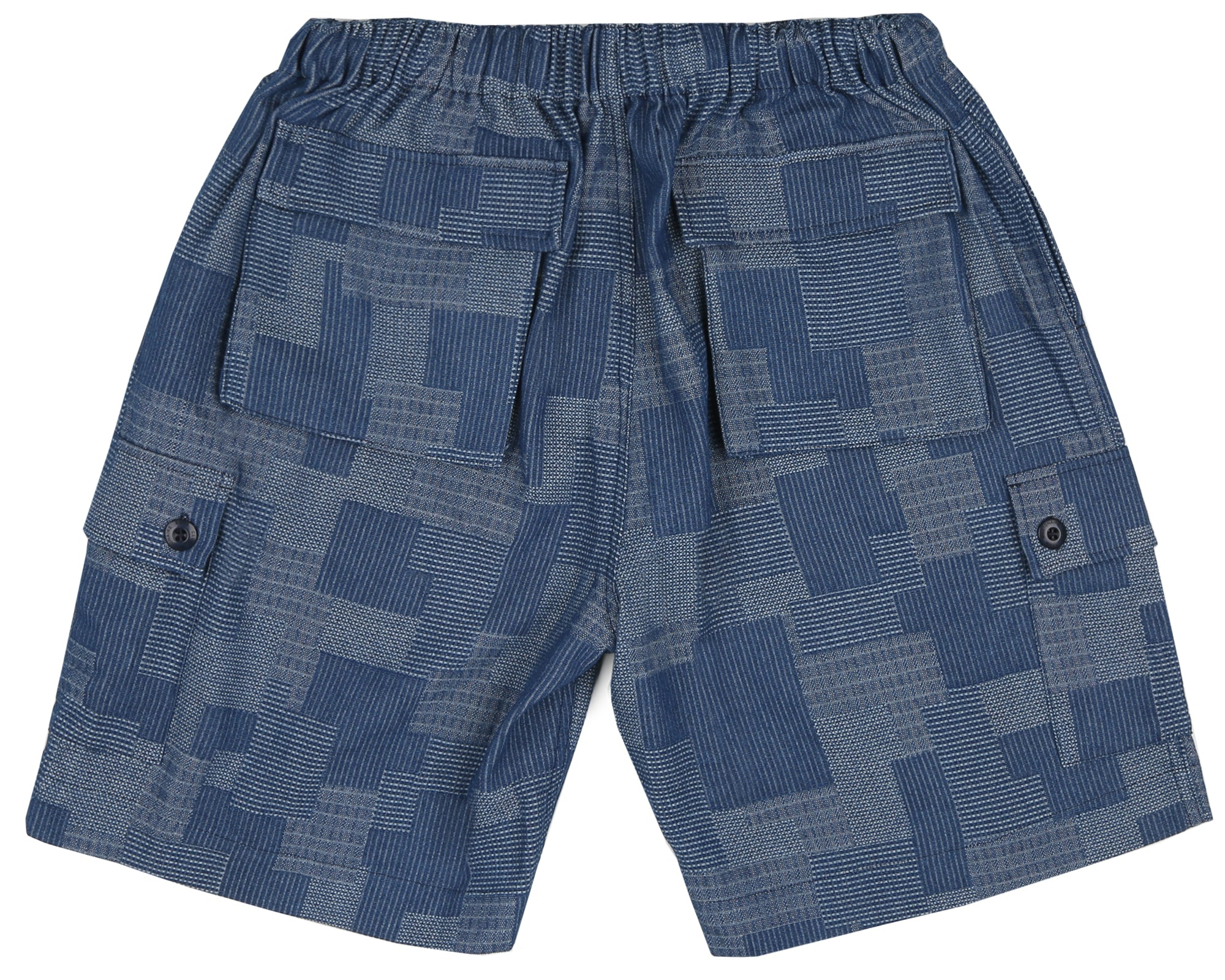 PATCHWORK DENIM SHORT - BLUE