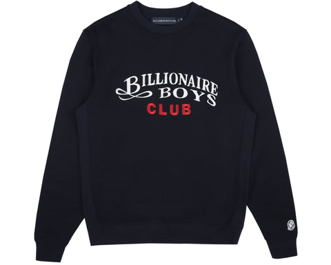 Billionaire Boys Club Spring '19 EMBROIDERED SCRIPT CREWNECK - NAVY