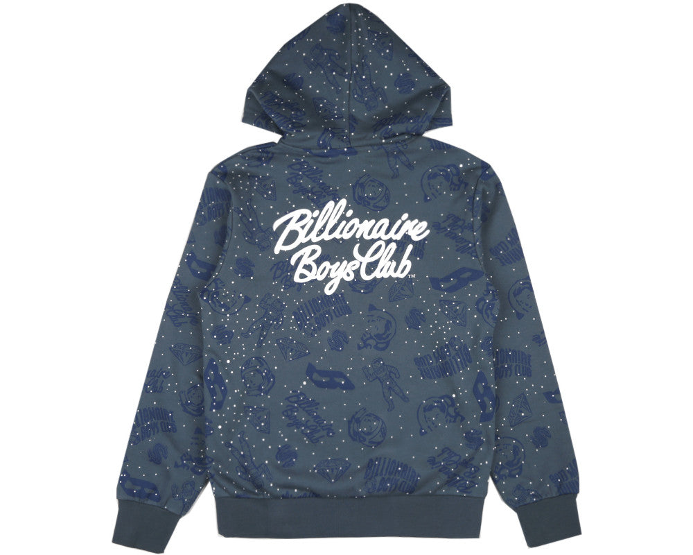 Billionaire Boys Club Spring '17 GALAXY ALL-OVER PRINT ZIP THROUGH HOODIE - BLUE