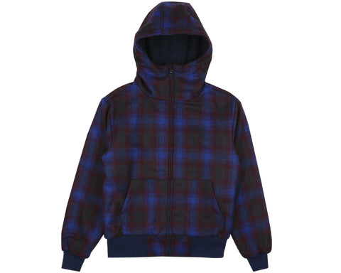 Billionaire Boys Club Pre-Spring '19 HEAVY WOOL CHECK ZIP THROUGH HOOD - GREY