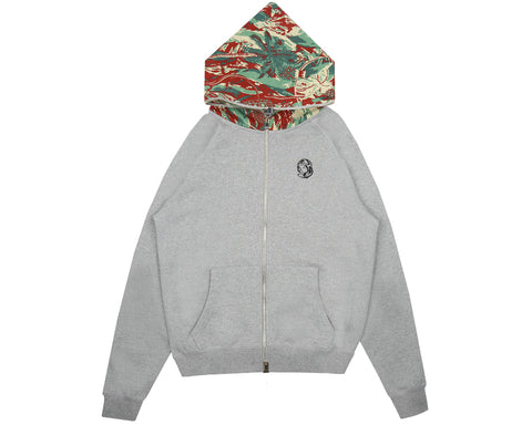 Billionaire Boys Club Pre-Fall '18 LIZARD CAMO ZIP-THROUGH HOOD - HEATHER GREY