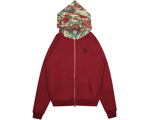 Billionaire Boys Club Pre-Fall '18 LIZARD CAMO ZIP-THROUGH HOOD - BURGUNDY