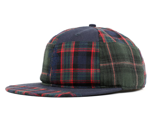 CUT & SEW CHECK 6 PANEL CAP - FOREST GREEN