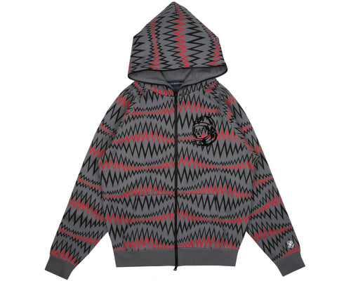 SOUNDWAVE FULL ZIP HOOD - GREY