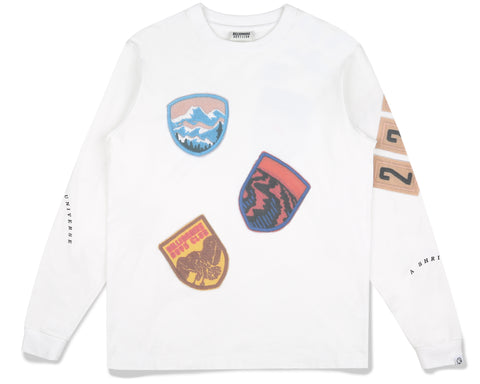 Billionaire Boys Club Fall '19 FIELD TRIP SCOUT PATCH L/S T-SHIRT - WHITE