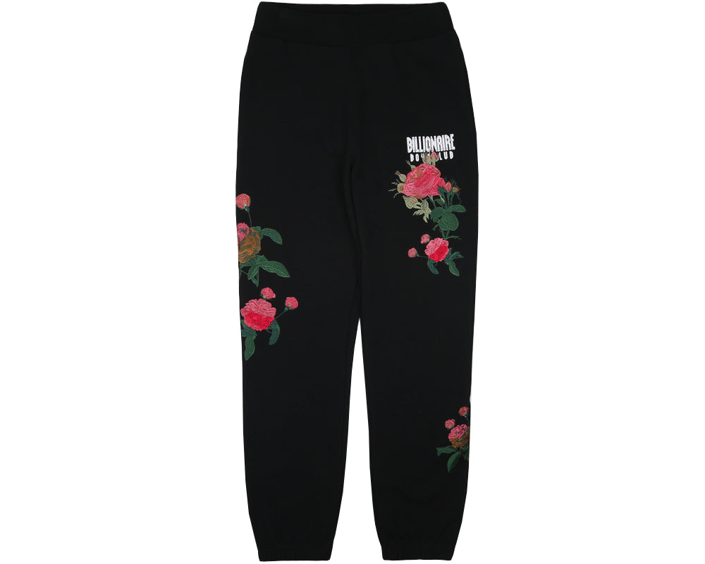 EMBROIDERED FLORAL SWEATPANT - BLACK