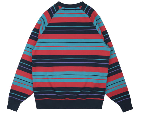 MULTI STRIPE RAGLAN CREWNECK - NAVY
