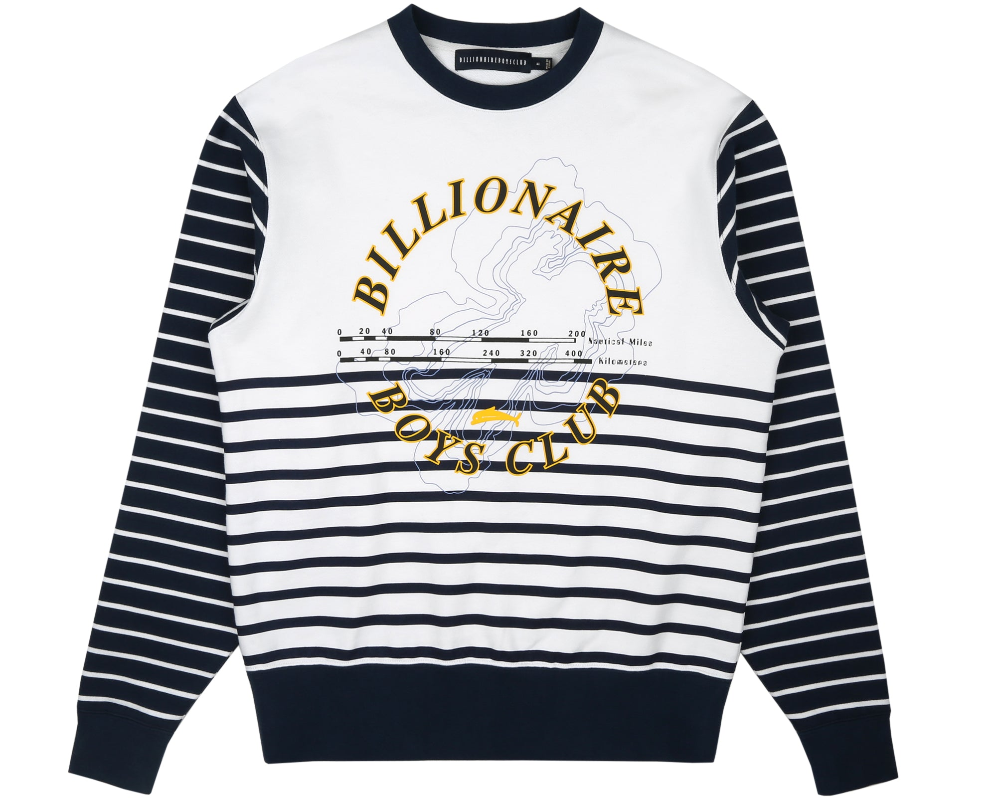 CUT & SEW STRIPE CREWNECK - WHITE