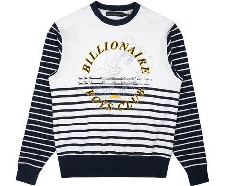 Billionaire Boys Club Pre-Fall '19 CUT & SEW STRIPE CREWNECK - WHITE