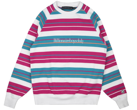 Billionaire Boys Club Pre-Fall '19 MULTI STRIPE RAGLAN CREWNECK - WHITE