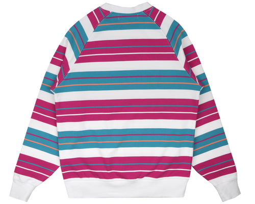 MULTI STRIPE RAGLAN CREWNECK - WHITE