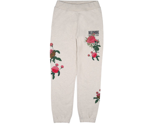 EMBROIDERED FLORAL SWEATPANT - OAT MARL