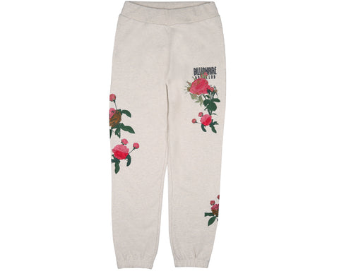 Billionaire Boys Club Spring '18 EMBROIDERED FLORAL SWEATPANT - OAT MARL