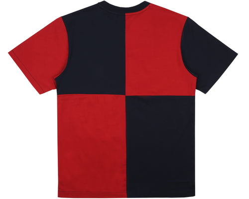 DIAGONAL CUT & SEW T-SHIRT - RED / BLUE