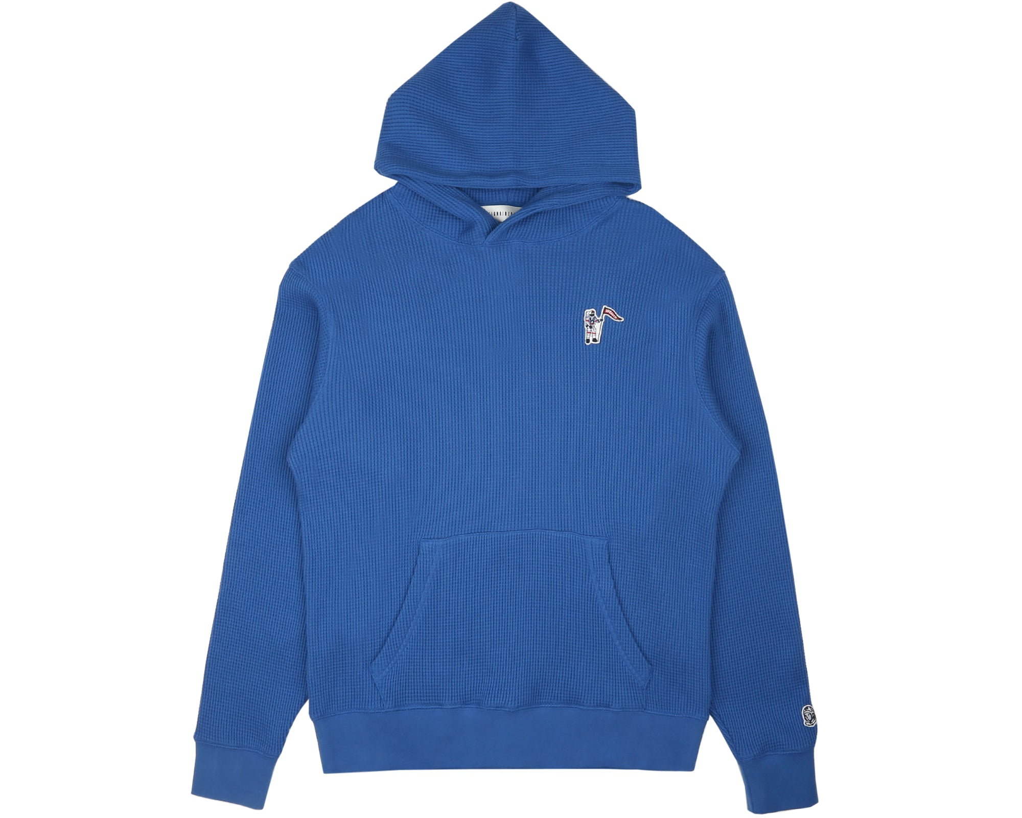 WAFFLE JERSEY POPOVER HOOD - BLUE