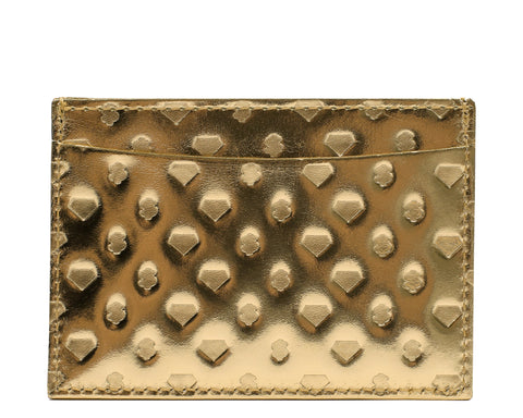 Billionaire Boys Club Spring '19 DIAMONDS & DOLLARS LEATHER CARDHOLDER - GOLD