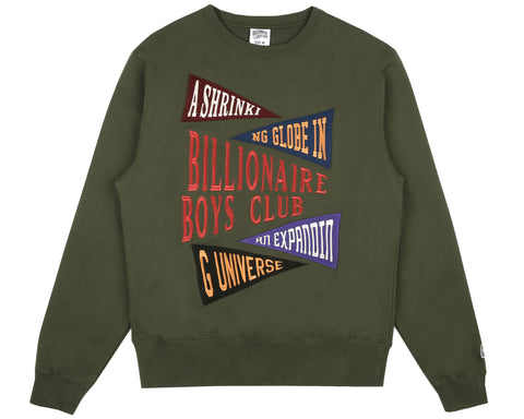 Billionaire Boys Club Fall '18 PENNANT APPLIQUE CREWNECK - OLIVE