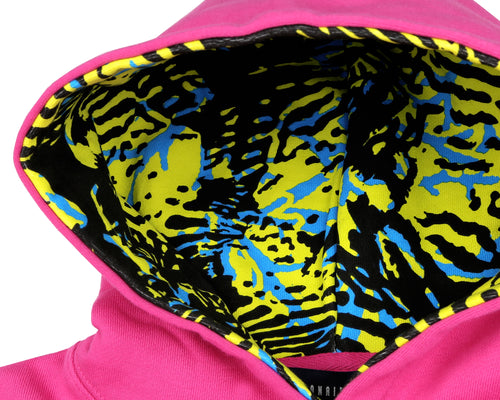 FISH CAMO POPOVER HOOD - PINK