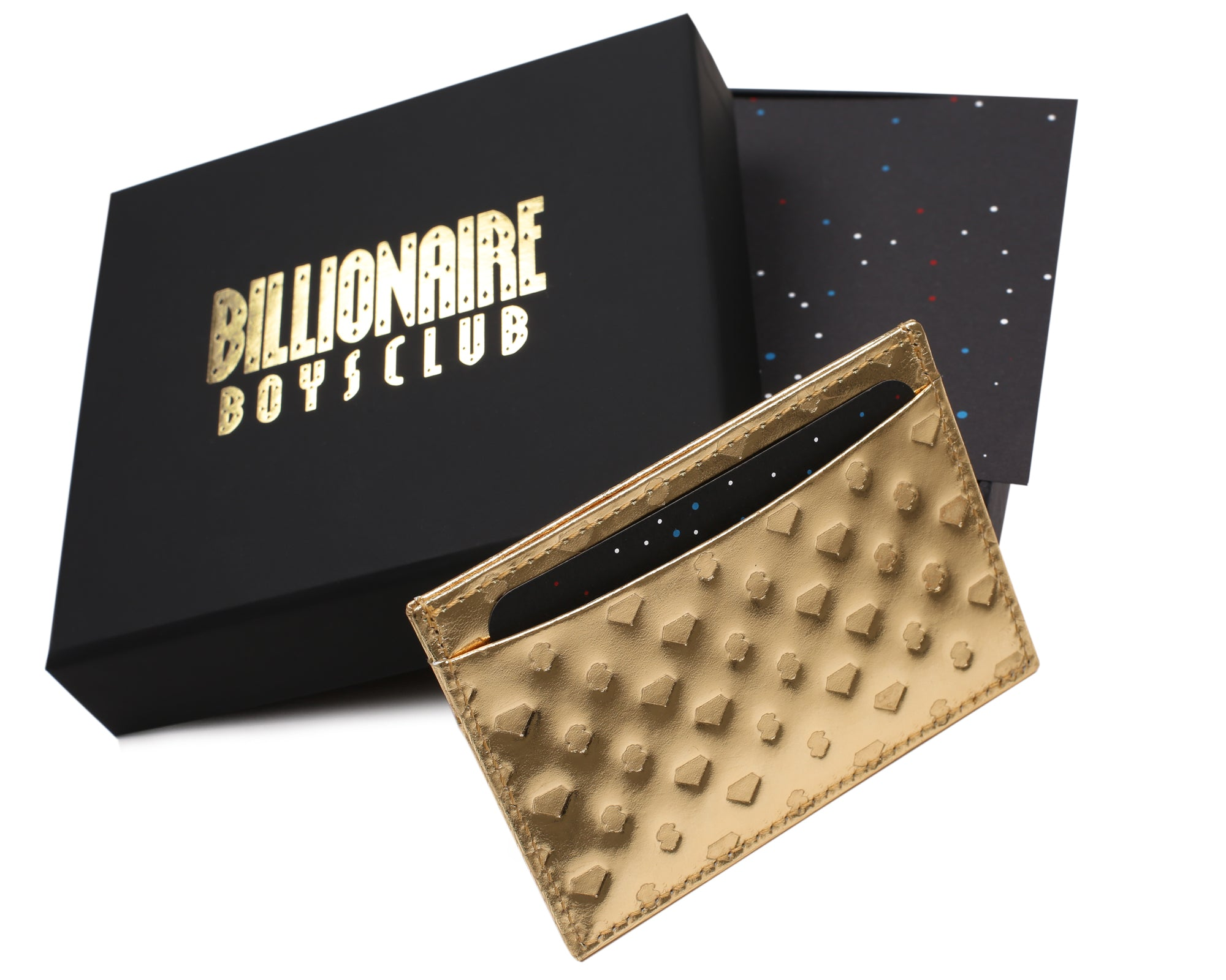 DIAMONDS & DOLLARS LEATHER CARDHOLDER - GOLD
