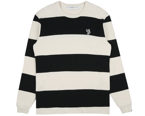 STRIPED WAFFLE KNIT L/S T-SHIRT - BONE/BLACK