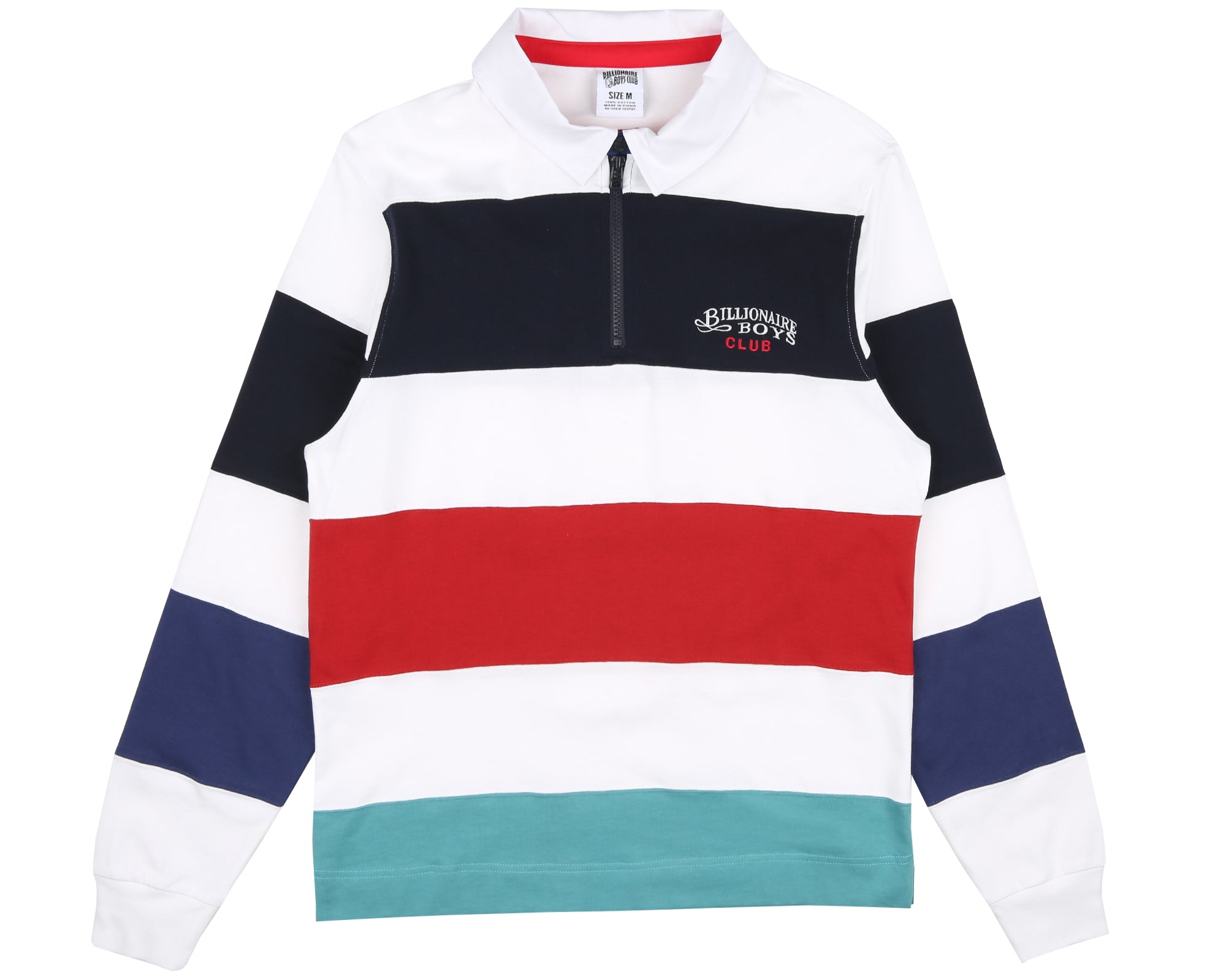 STRIPED ZIP RUGBY SHIRT - WHITE