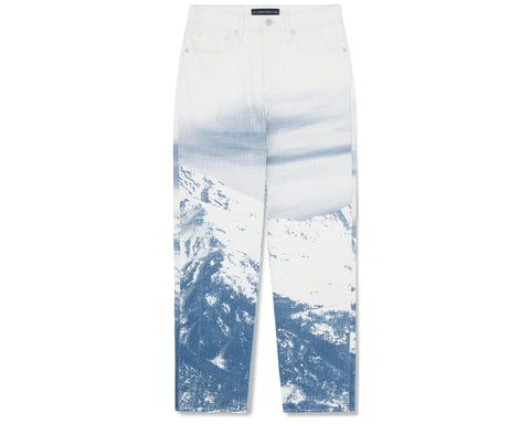 Billionaire Boys Club Pre-Spring '20 MOUNTAIN PRINT DENIM PANT - WHITE