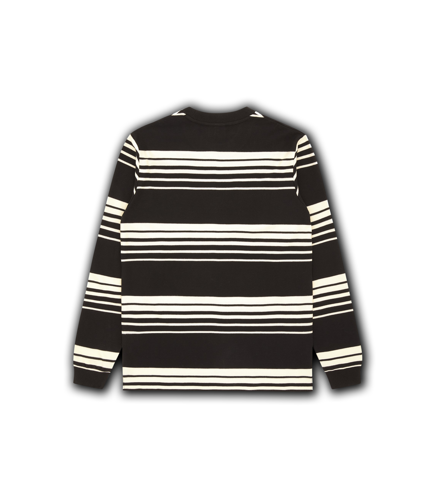 STRIPE KNIT L/S T-SHIRT - BLACK