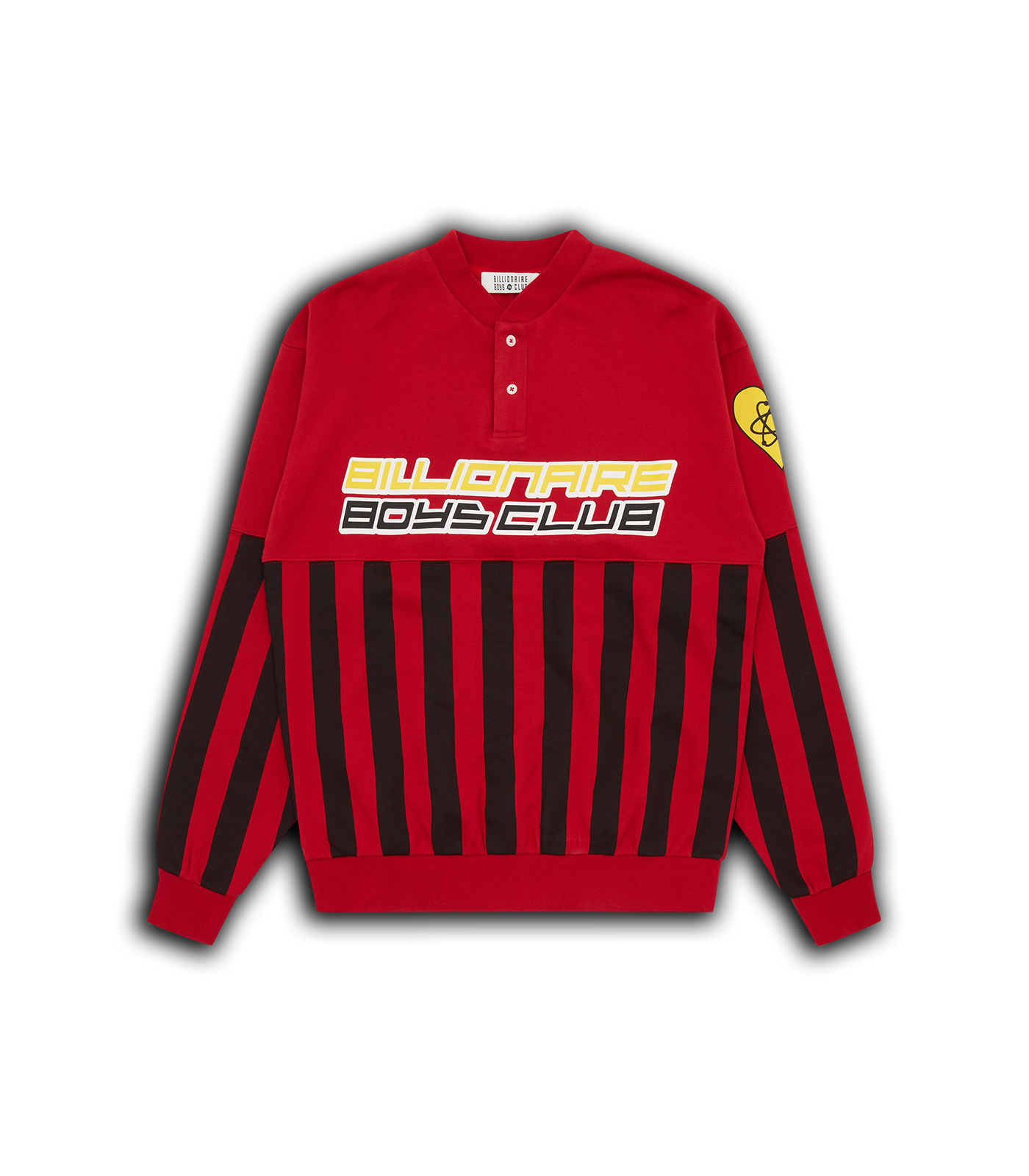 STRIPED COLLEGIATE CREWNECK - RED