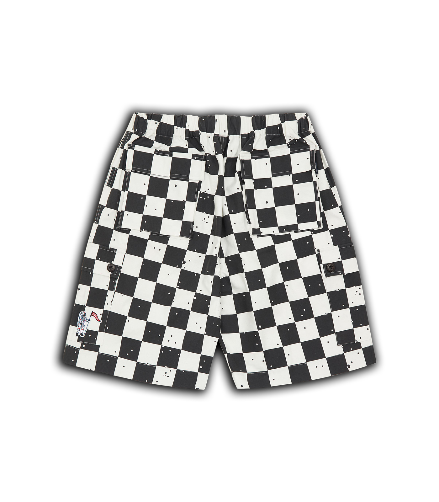 SPACE CHECK CARGO POCKET SHORTS - WHITE