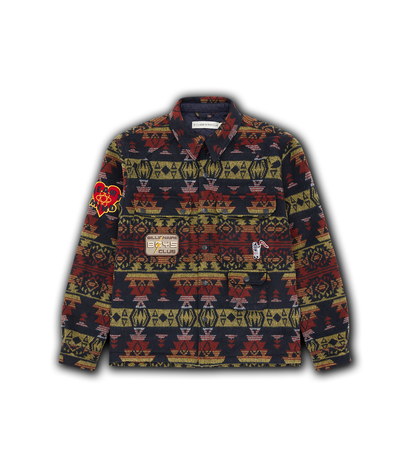 BLANKET PATTERN OVERSHIRT - NAVY