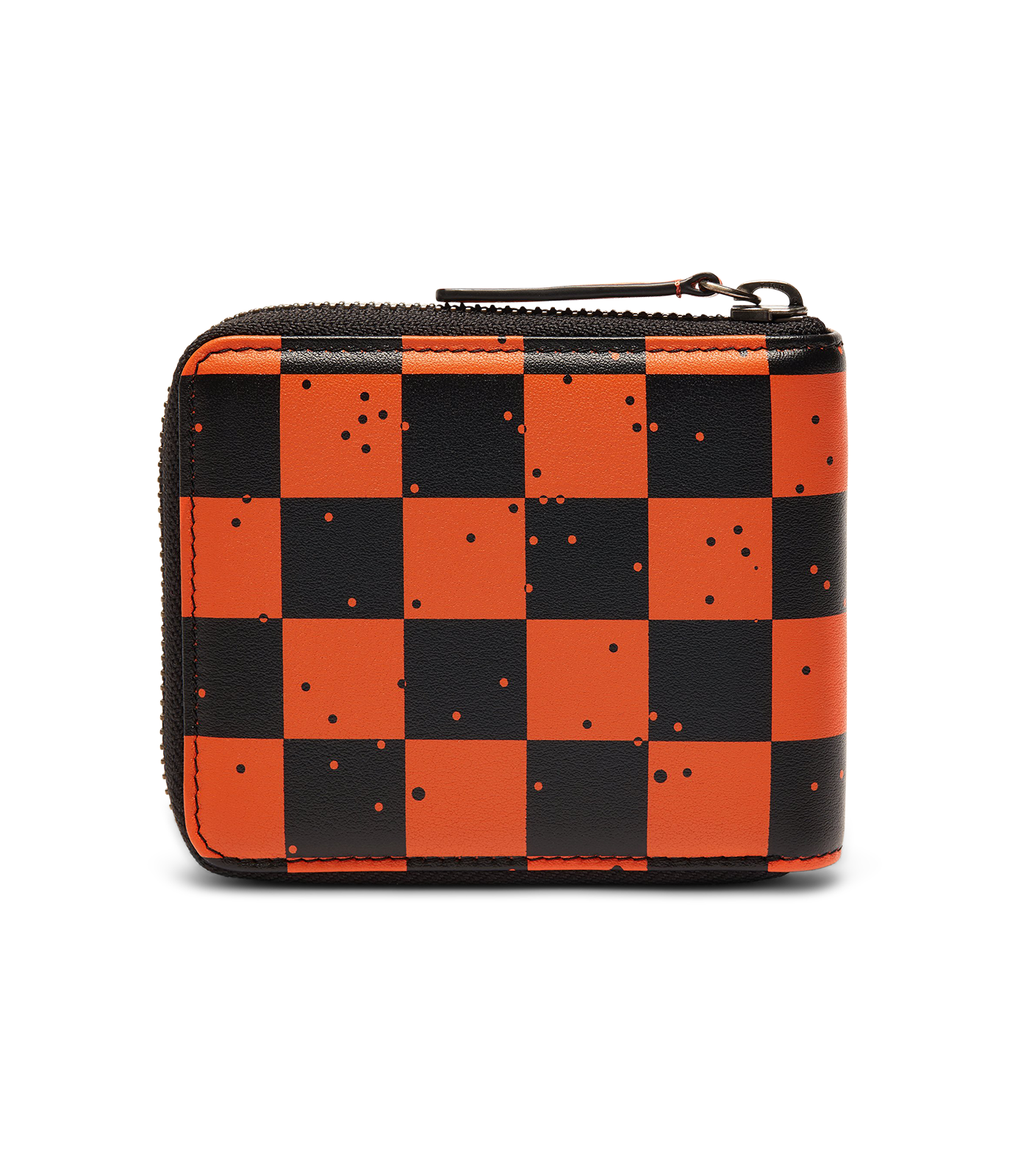 SPACE CHECK LEATHER ZIP WALLET - ORANGE